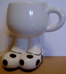 Carlton Ware Lustre Pottery Walking Ware Big Foot Black Spot Cup - 1980s
